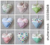 Collage With Hearts Over Fabric