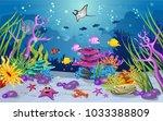 marine habitats and the beauty... | Shutterstock .eps vector #1033388809