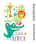 poster with little african... | Shutterstock .eps vector #1033391506