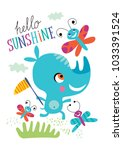 poster with a little rhino for... | Shutterstock .eps vector #1033391524