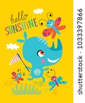 poster with a little rhino for... | Shutterstock .eps vector #1033397866