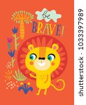 poster with little lion for... | Shutterstock .eps vector #1033397989