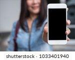 mock up  smart woman showing... | Shutterstock . vector #1033401940