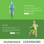 cycling and active lifestyle ... | Shutterstock .eps vector #1033406380
