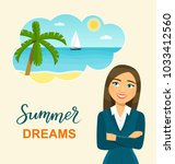 woman at work dreaming about... | Shutterstock .eps vector #1033412560