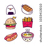 fast food hand drawn vector... | Shutterstock .eps vector #1033413010