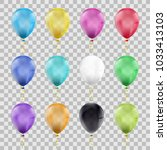 set of multi colored balloons.... | Shutterstock .eps vector #1033413103