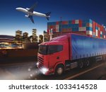 fast truck on road delivering... | Shutterstock . vector #1033414528