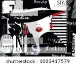 fashion woman in style pop art... | Shutterstock .eps vector #1033417579