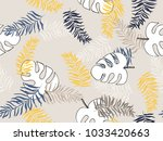 hand drawn  tropical leave... | Shutterstock .eps vector #1033420663