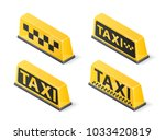 yellow roof taxi sign set... | Shutterstock .eps vector #1033420819