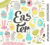 happy easter greeting card with ... | Shutterstock .eps vector #1033423600