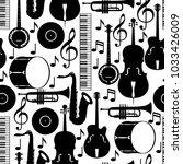 jazz music seamless pattern... | Shutterstock .eps vector #1033426009