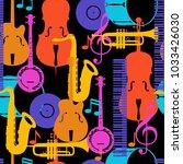 jazz music seamless pattern... | Shutterstock .eps vector #1033426030
