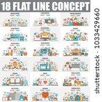 modern set of flat line concept ... | Shutterstock .eps vector #1033429660