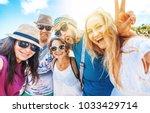 group of friends millennials... | Shutterstock . vector #1033429714