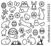 easter eggs   hares   chicks... | Shutterstock .eps vector #1033431223