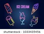 set of ice cream neon sign ...   Shutterstock .eps vector #1033435456
