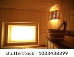sauna  wooden interior baths ... | Shutterstock . vector #1033438399