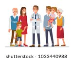 doctor man with big family.... | Shutterstock . vector #1033440988