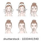 girl cares about her face.... | Shutterstock . vector #1033441540