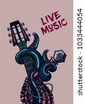 octopus musician. live music.... | Shutterstock .eps vector #1033444054