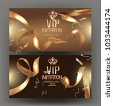 vip golden banners with... | Shutterstock .eps vector #1033444174