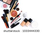 makeup brush and decorative... | Shutterstock . vector #1033444330