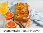 healthy vegan homemade orange... | Shutterstock . vector #1033447090