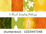 vector set of floral seamless... | Shutterstock .eps vector #1033447348