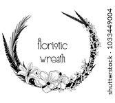 black hand drawn floristic... | Shutterstock .eps vector #1033449004