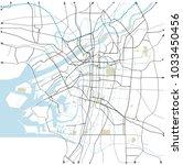 osaka  japan  roads vector map | Shutterstock .eps vector #1033450456