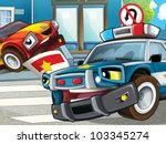 Police officer giving ticket - stock photo