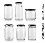 closed empty glass jar with...   Shutterstock . vector #1033453069