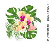 Stock vector bouquet with tropical flowers floral arrangement with beautiful yellow orchid palm philodendron 1033454074