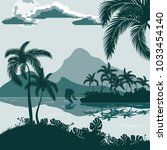 tropical landscape  view from... | Shutterstock .eps vector #1033454140