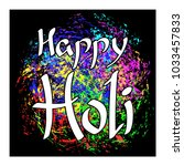 colorful post card for holi  | Shutterstock .eps vector #1033457833