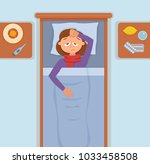 sick girl in bed with the...   Shutterstock .eps vector #1033458508