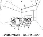 interior outline wireframe... | Shutterstock .eps vector #1033458820