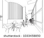 interior outline wireframe... | Shutterstock .eps vector #1033458850