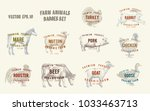 Stock vector labels with farm animals set templates price tags for shops and markets of organic food vector 1033463713