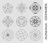 set of 6 geometrical elements.... | Shutterstock .eps vector #1033463806