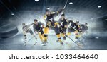 Small photo of Decisive throw of the puck and goal. Collage from three models about ice hockey players in action on ice. Male professional athletes swinging his stick before a decisive blow. Tension and rage. Sports