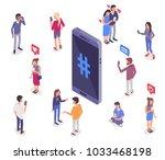 social media isometry concept... | Shutterstock . vector #1033468198