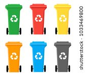 colorful recycle bins set for... | Shutterstock .eps vector #1033469800