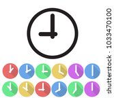 set of clock icon flat design ... | Shutterstock .eps vector #1033470100