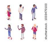 young people with smartphones.... | Shutterstock . vector #1033470103