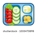 lunch box meals healthy diet... | Shutterstock .eps vector #1033470898
