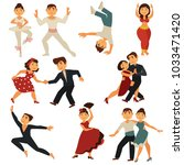 dancing people vector flat... | Shutterstock .eps vector #1033471420