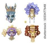 4 watercolor fantsty tribal...   Shutterstock . vector #1033477648